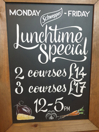 lunchtime specials at The Fusilier Great Bentley